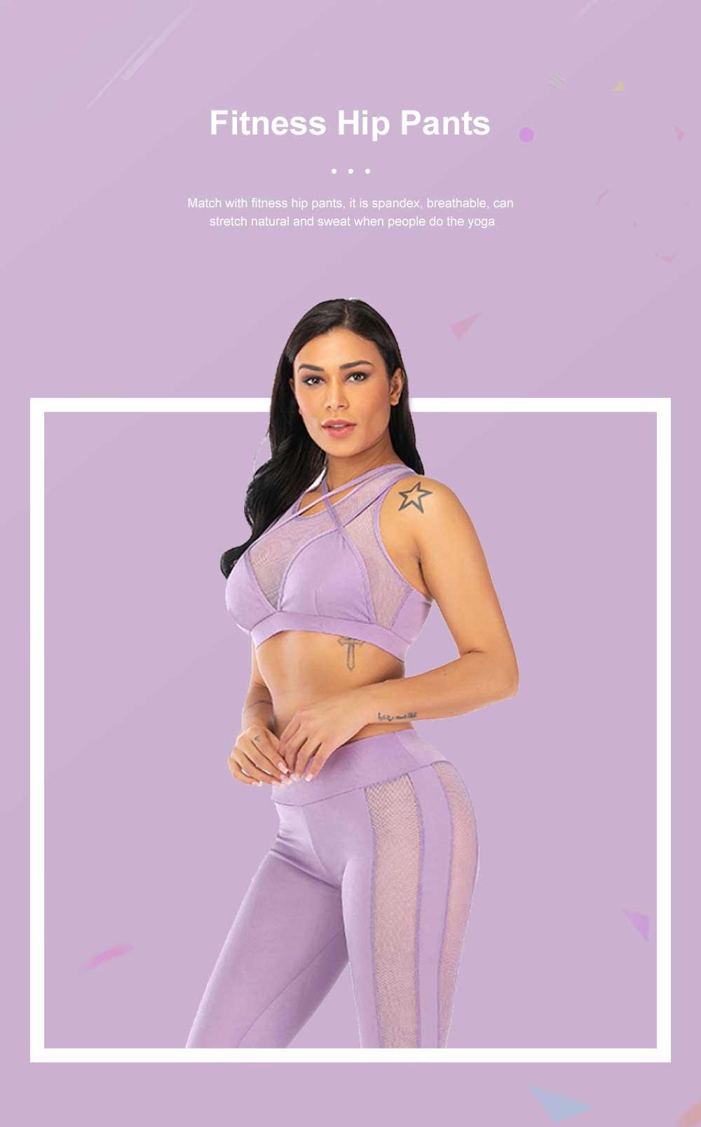 Fashion Sexy Women Two Piece Sport Bra Pants Yoga Fitness Hip Pants Set Cross Straps Hollow Matching Mesh Lady Wear Set 2