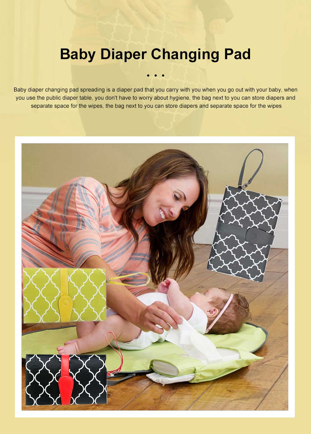 Portable Home Travel Outside Changer Foldable Waterproof Mat Baby Diaper Changing Insulation Pad With Head Cushion Pockets 0