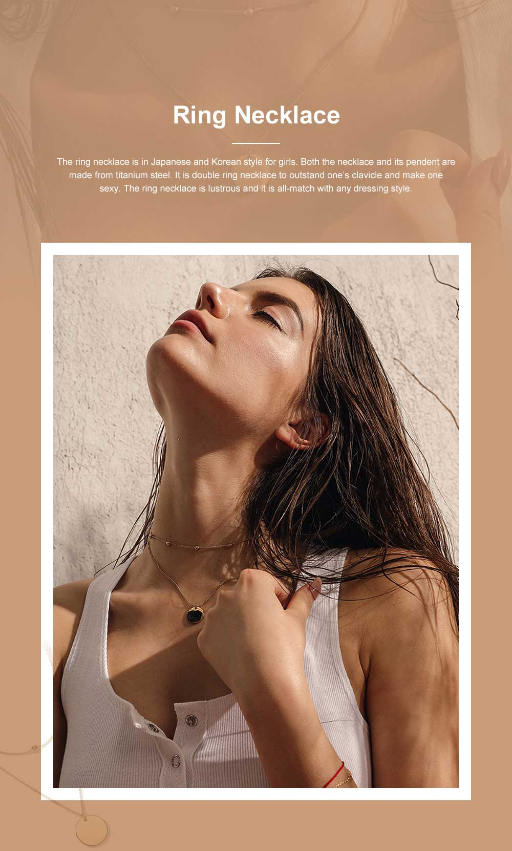 Fashionable Ring Necklace with Coin-like Pendent for Girls Simple Double Water Wave Clavicle Amulet Necklace Jewelry All-match Necklace 0