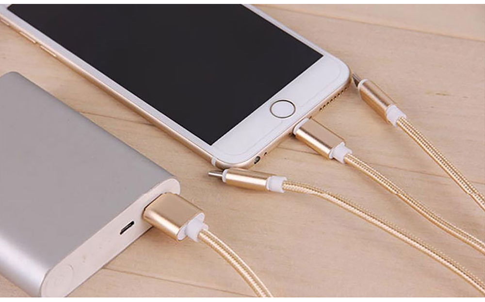 Tinkleo 3 in 1 Multifunctional Nylon Braided 2A Charger Cable 100cm for Android Type C USB 3