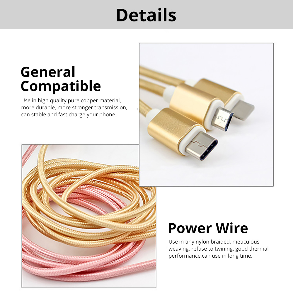 Tinkleo 3 in 1 Multifunctional Nylon Braided 2A Charger Cable 100cm for Android Type C USB 1