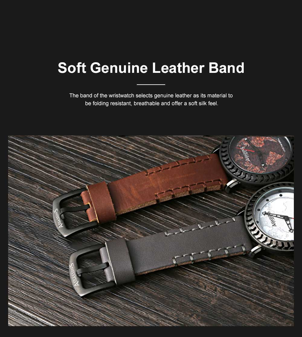 Casual Genuine Leather Unisex Wristwatch with Japan-imported Quartz Movement Waterproof Alloy Made Watchcase Men's Wrist Watch 2