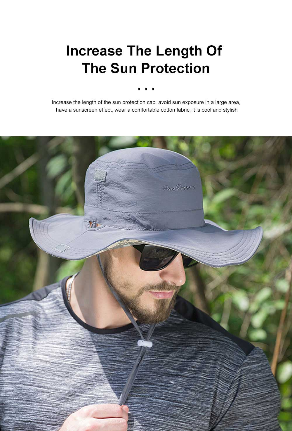 Male Sun Hat Sunscreen Summer Travel Seaside Big Edge Leisure Folding Windproof Sunshade Riding Mountaineering Hat 1