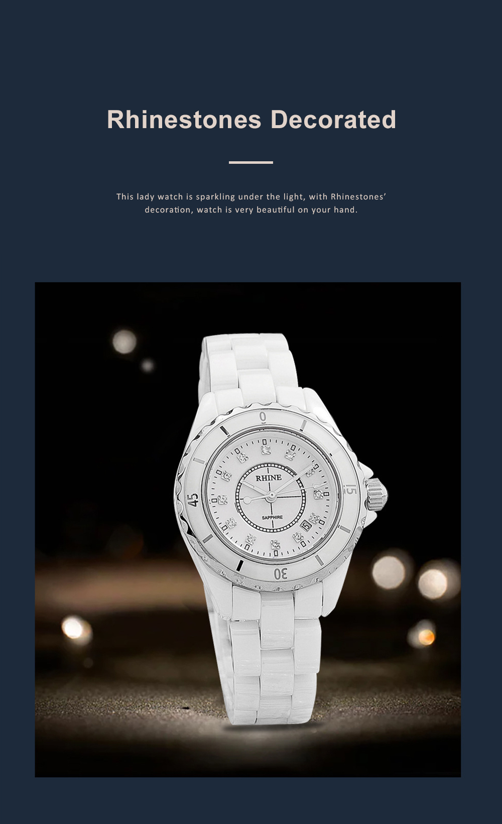 Female Ceramic Watch Women Ladies Fashion Watch with Diamond Waterproof 4