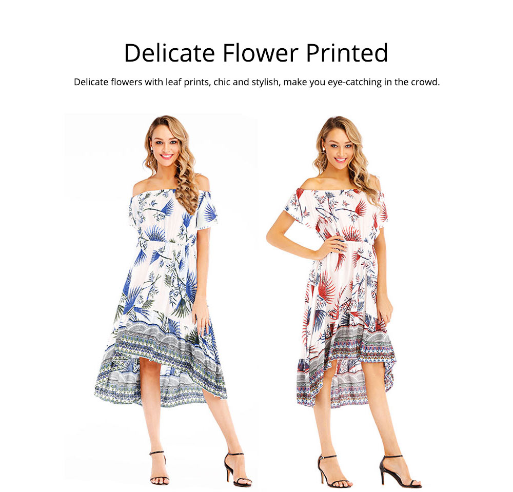 Holiday & Beach Dress for Women, Bohemian Print Dress, Sexy Off Shoulder Long Dress for Women 1