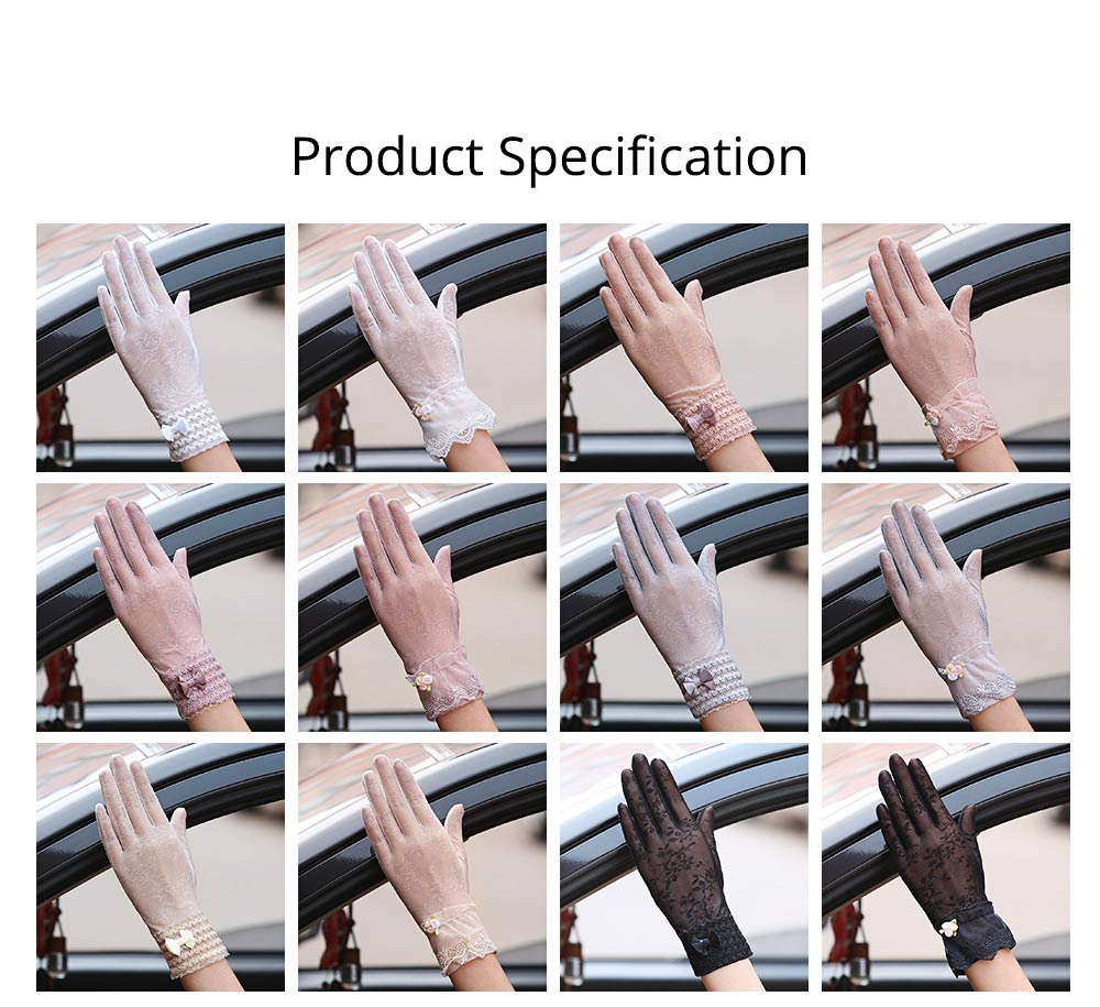 Summer Women Gloves Women's UV Protection Sun Driving Gloves Lace Touch Screen Thin Gloves for Gifts 6