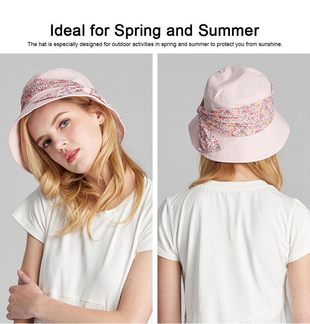 Spring Summer Bucket Hat Foldable Sunbonnet for Women Beach Sea Outdoor Activities Sun-proof Sun Hat 2