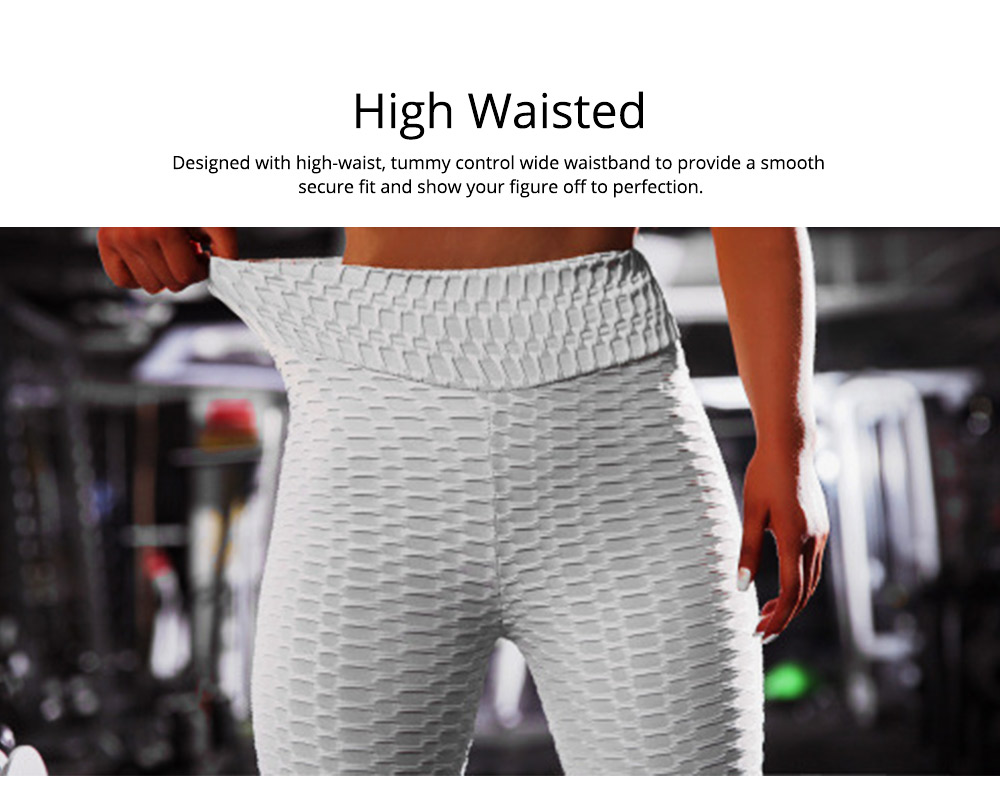 Women's High Waist Yoga Pants Tummy Control Butt Lift-up Stretchy Workout Leggings Textured Cropped Pencil Pant 2