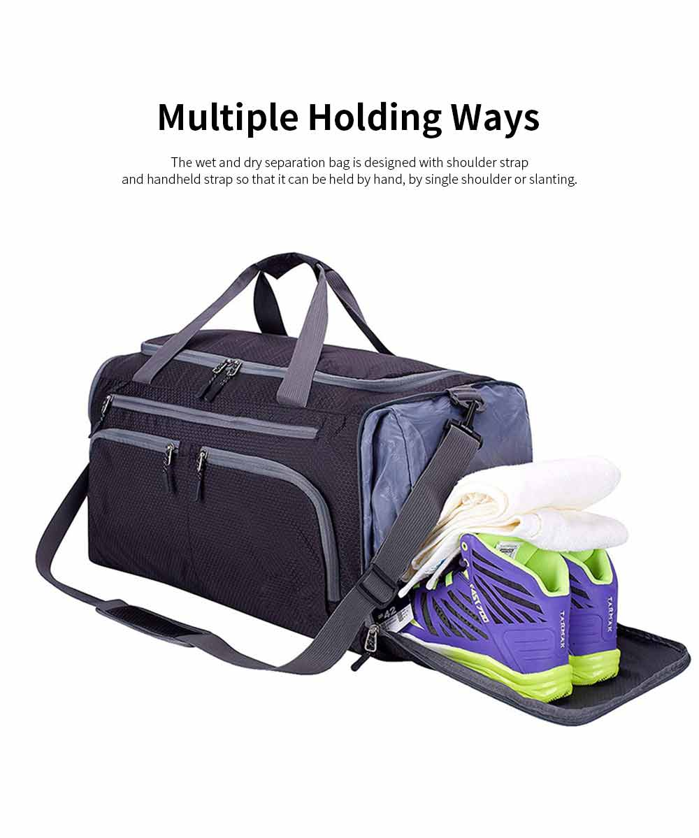Nylon Oxford Wet and Dry Separation Bag with Two-way Zipper Major Pocket Durable Waterproof Separate Shoe Pocket Unisex Travelling Bag Large Capacity Valise Storage Bag 2