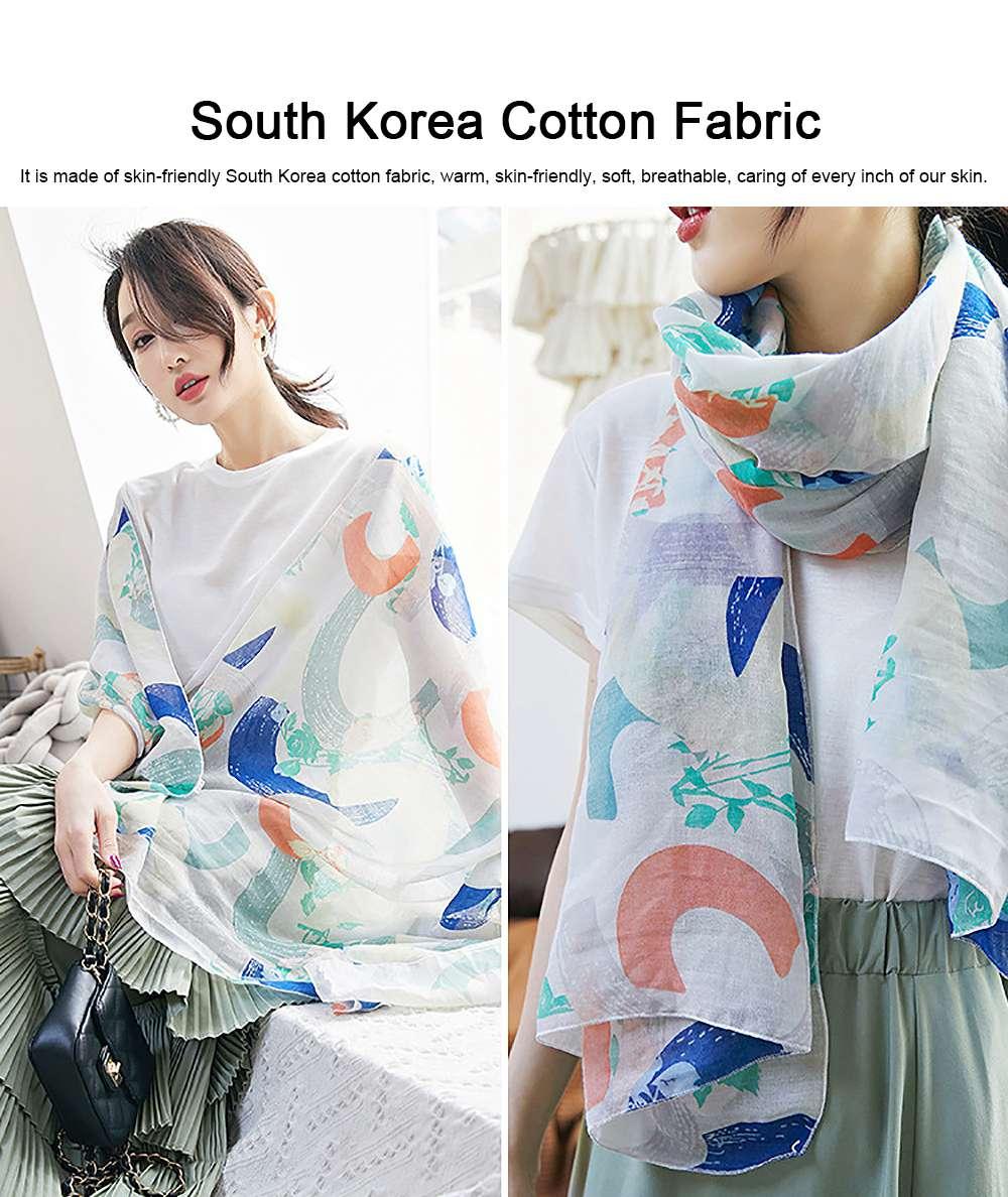 Korean Cotton Scarf for Women, Graffiti Pattern Larger Size Shawl, Multi-function Wide Range Printing Scarf 5