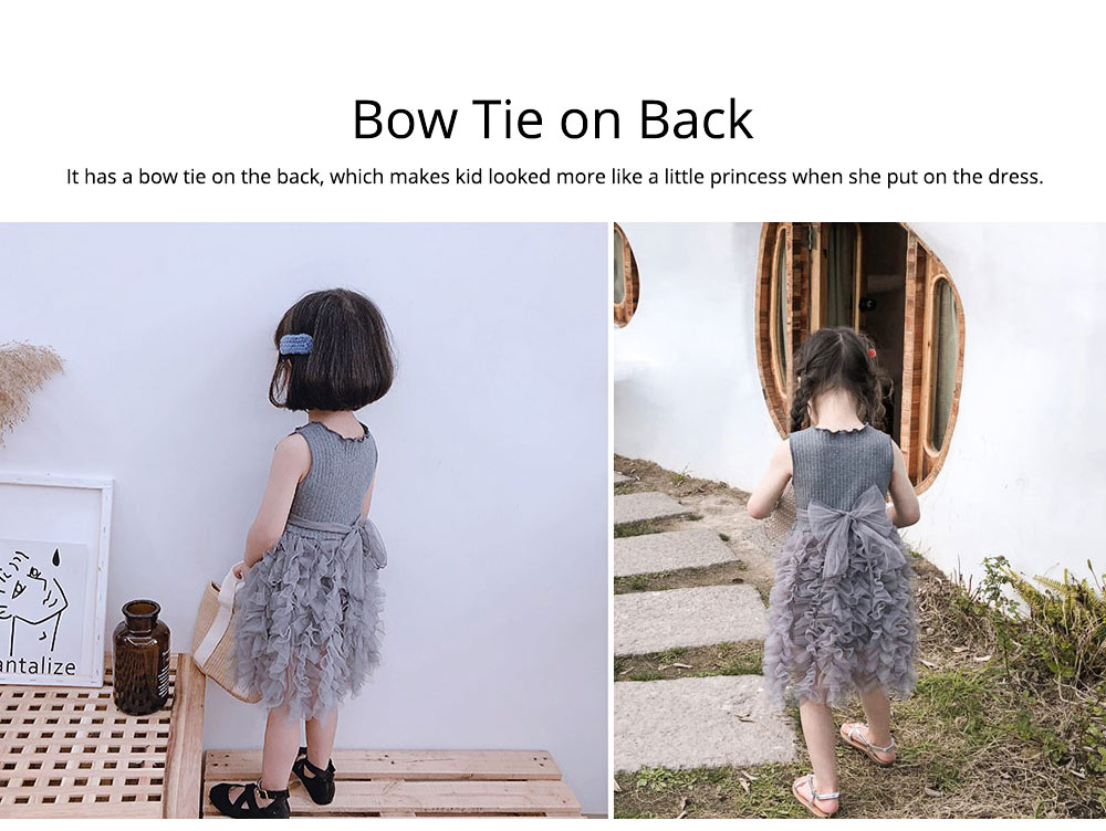Lovely Princess Dress for Little Girls, Leisure Sleeveless Plain Dress for Girls from 3 to 8 2