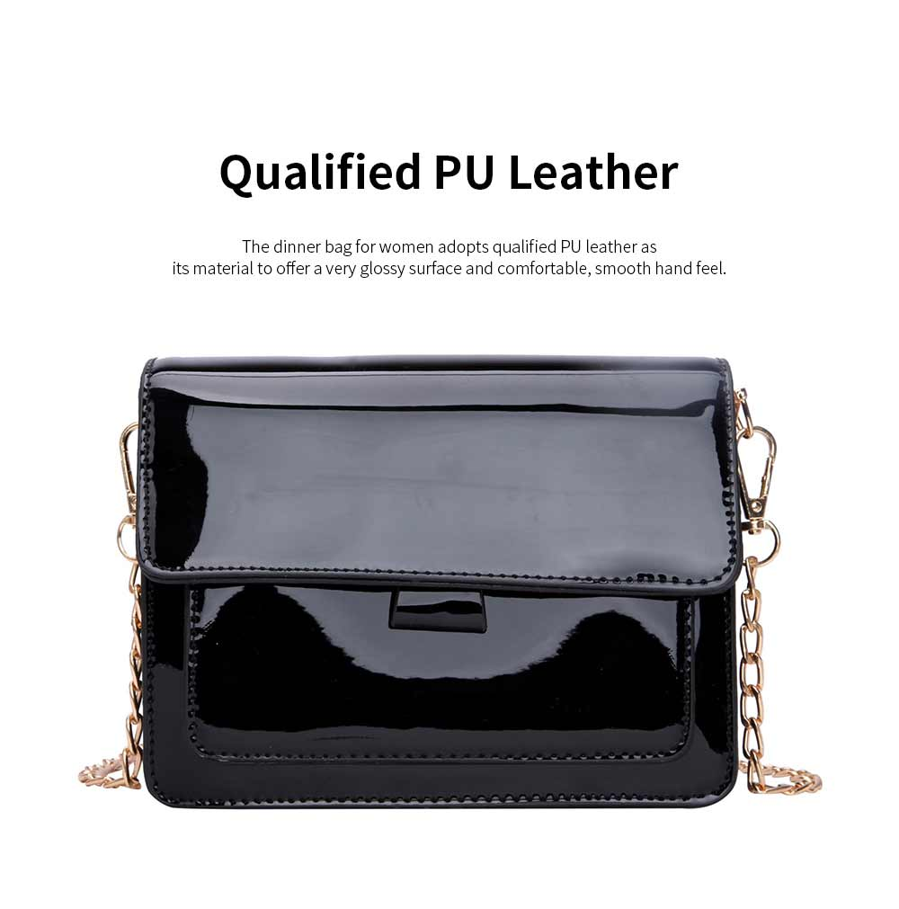 Enameled Leather Women's Dinner Bag with Single Metal Chain Shoulder Strap Hard Antiwear Large Capacity Evening Handbag for Women 1