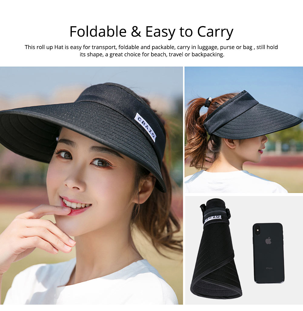 Sun Visor Hats Women Large Brim Summer UV Protection Beach Cap Foldable Driving Hats 2