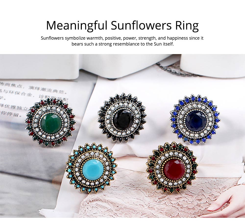 Women's Retro Ring Big Sun Flower Adjustable Aluminum Alloy Rhinestone Rings Women Fashion Accessories Best Gifts for Women 1