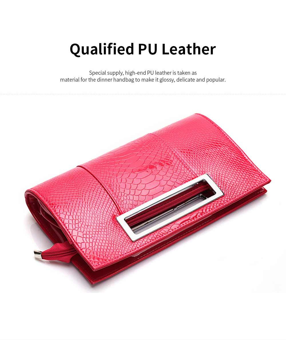 Women Evening Bag Casual PU Leather Dinner Bag with Removable Handle Zipper Pocket Durable Wear Resistant Concealed Pocket Crocodile Pattern Handbag 1