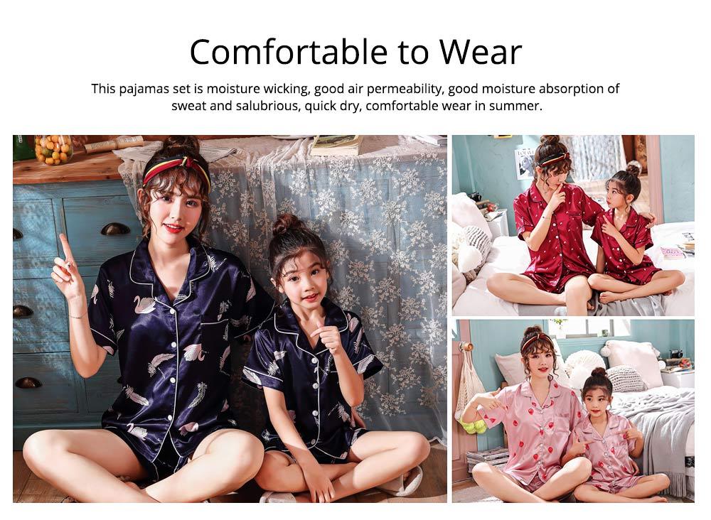 Casual Mother Daughter Pajamas Matching Comfortable Ice Silk Satin Pajama Set with Shirt and Short Pant 5