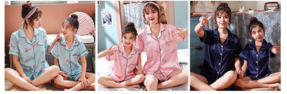 Casual Mother Daughter Pajamas Matching Comfortable Ice Silk Satin Pajama Set with Shirt and Short Pant 7