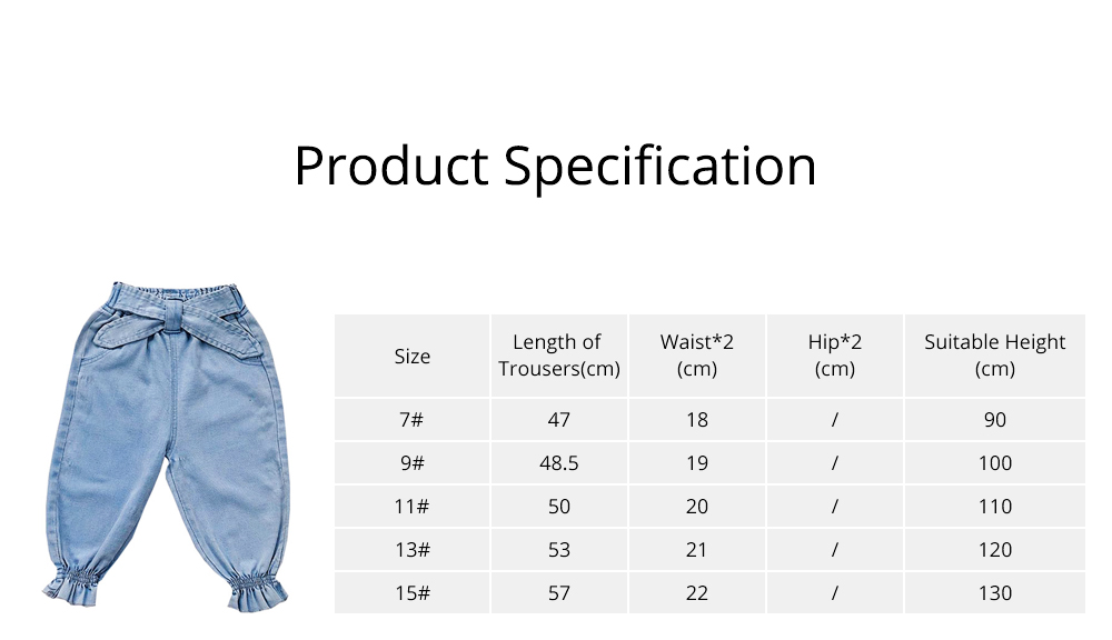 Stretch Pants Spandex Trousers for 3-8 Years Old Kids, Elastic Belt Jeans for Little Girl 6