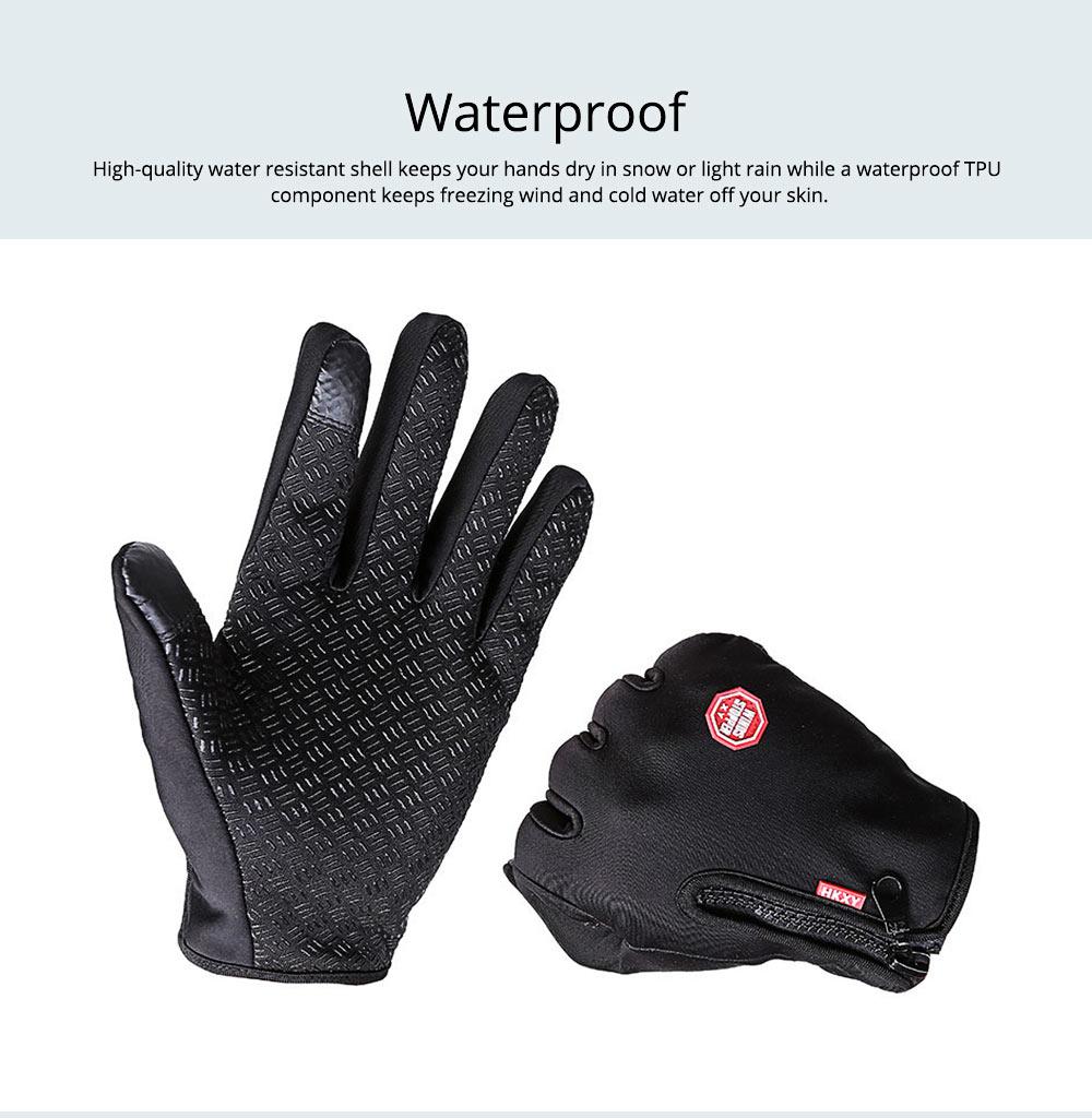 Winter Gloves PU Warm Waterproof Anti-skid Touchscreen Zipper Gloves for Running Hiking Climbing Skiing for Men Women 1