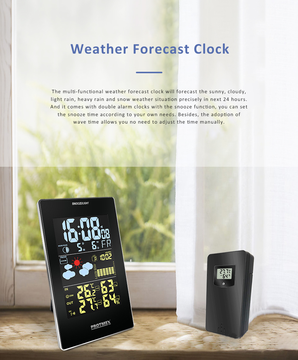 Wireless Color Weather Station Multi-functional Weather Forecast Clock Temperature & Humidity Electronic Alarm Clock 0