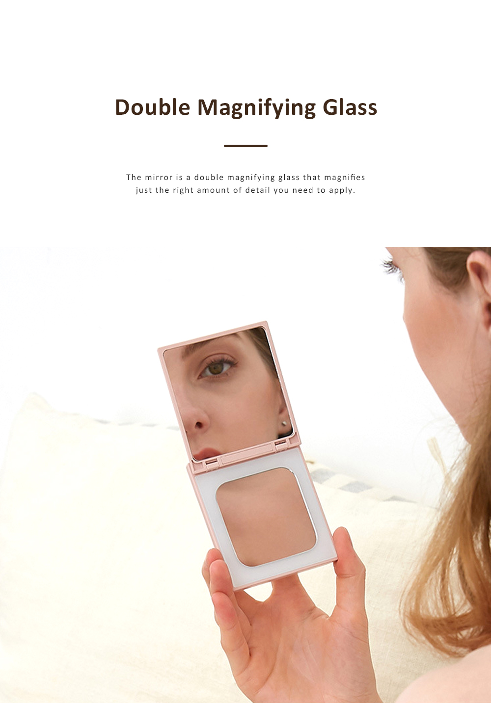 Cosmetic Mirror with Mobile Power Supply Portable Makeup Vanity Mirror Hand-held Mirror for Travel 4