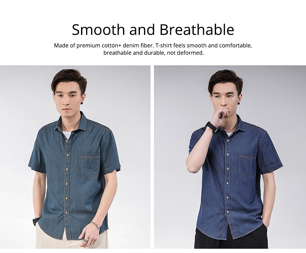 Men's Short Sleeve Shirts Casual Button Down Western Vintage Denim Shirt Cotton Loose Shirts 4