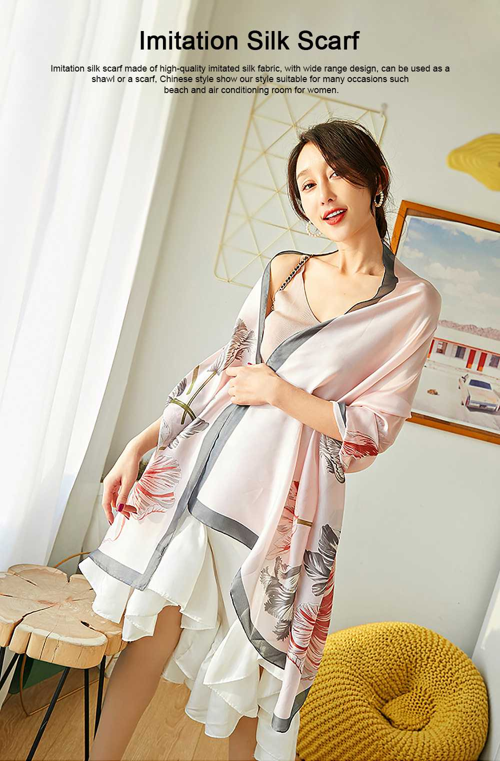 Imitation Silk Scarf for Women Chinese Style Square Shape Suitable for Many Occasions Shawl, Wide Range Scarves 0