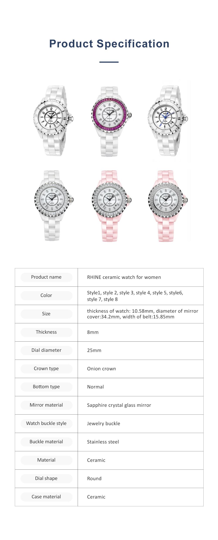Female Ceramic Watch Women Ladies Fashion Watch with Diamond Waterproof 6