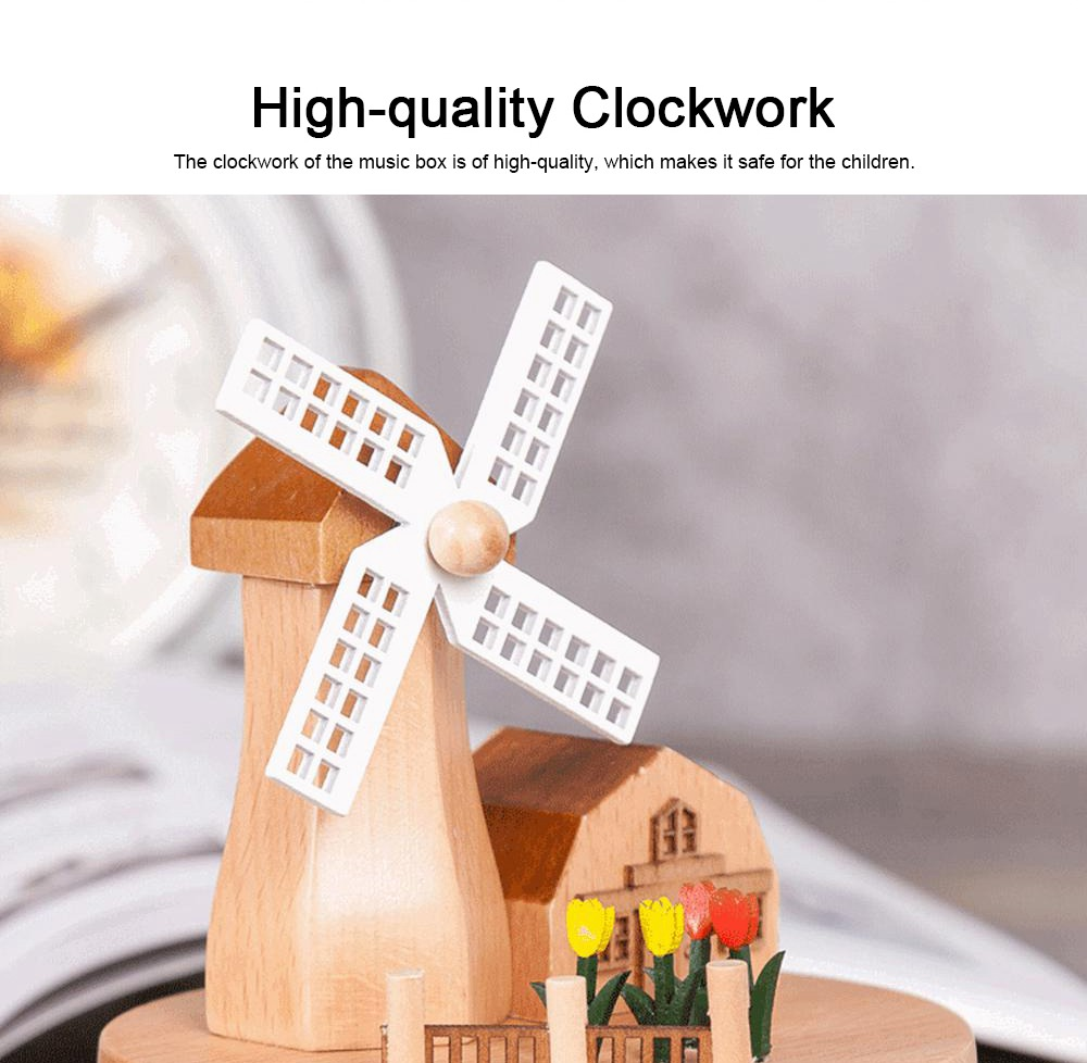 Rotation Wooden Music Box, Romantic Windmill Wood Craft Artware Handmade Decoration Gifts & Presents for Children Kids Friends 3