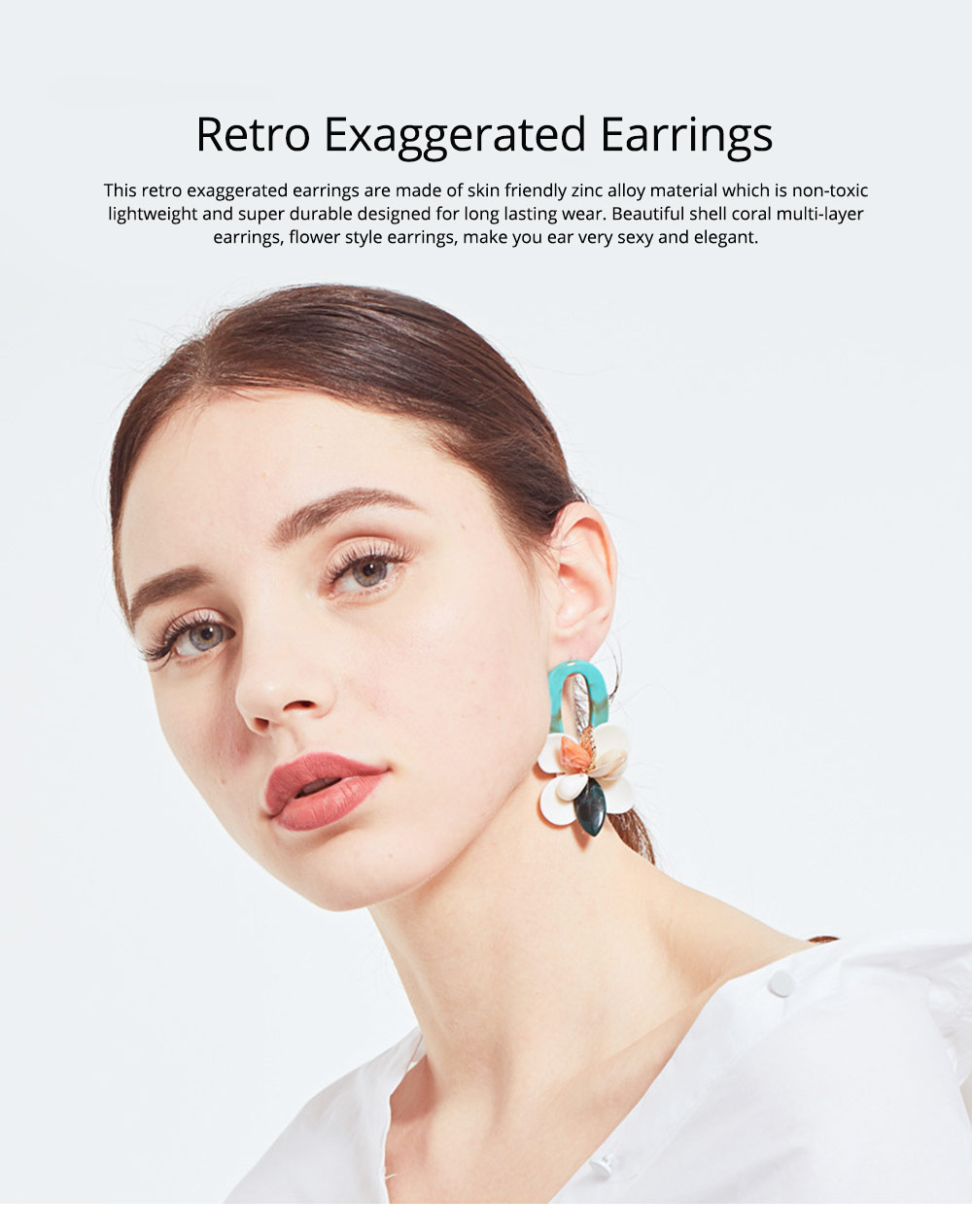Retro Exaggerated Earrings Shell Coral Multilayer Earrings Acrylic Hoop Pendants Gifts for Women 0