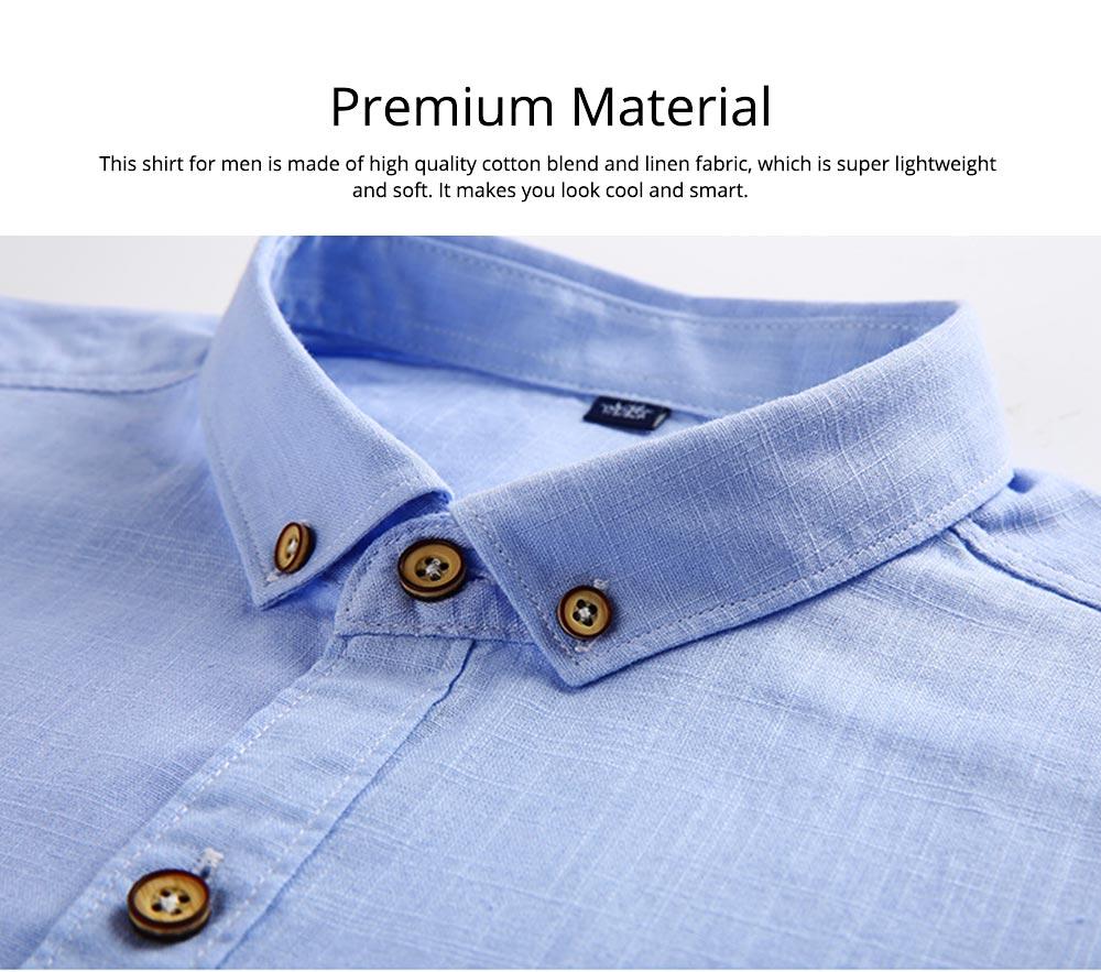 Mens Linen Shirt Short Sleeve Banded Collar Casual Shirts Regular Fit Button Down T-shirts 3