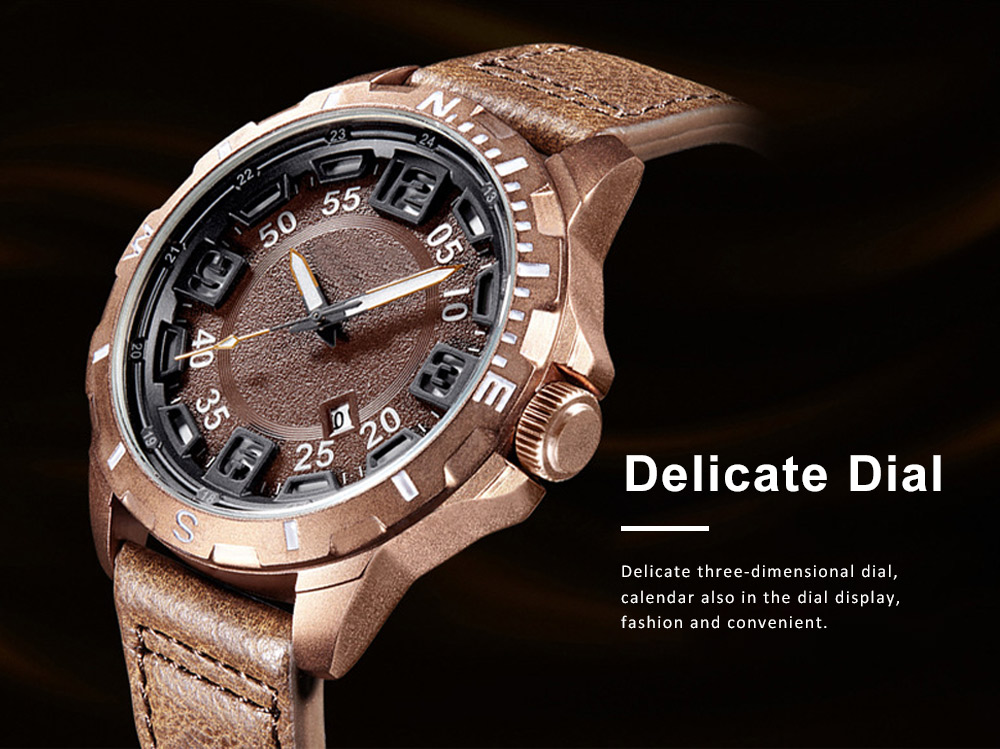 Casual Quartz Watch for Men Waterproof Quartz Watch With Stainless Steel Clasp Watch Leather Wrist Strap 6
