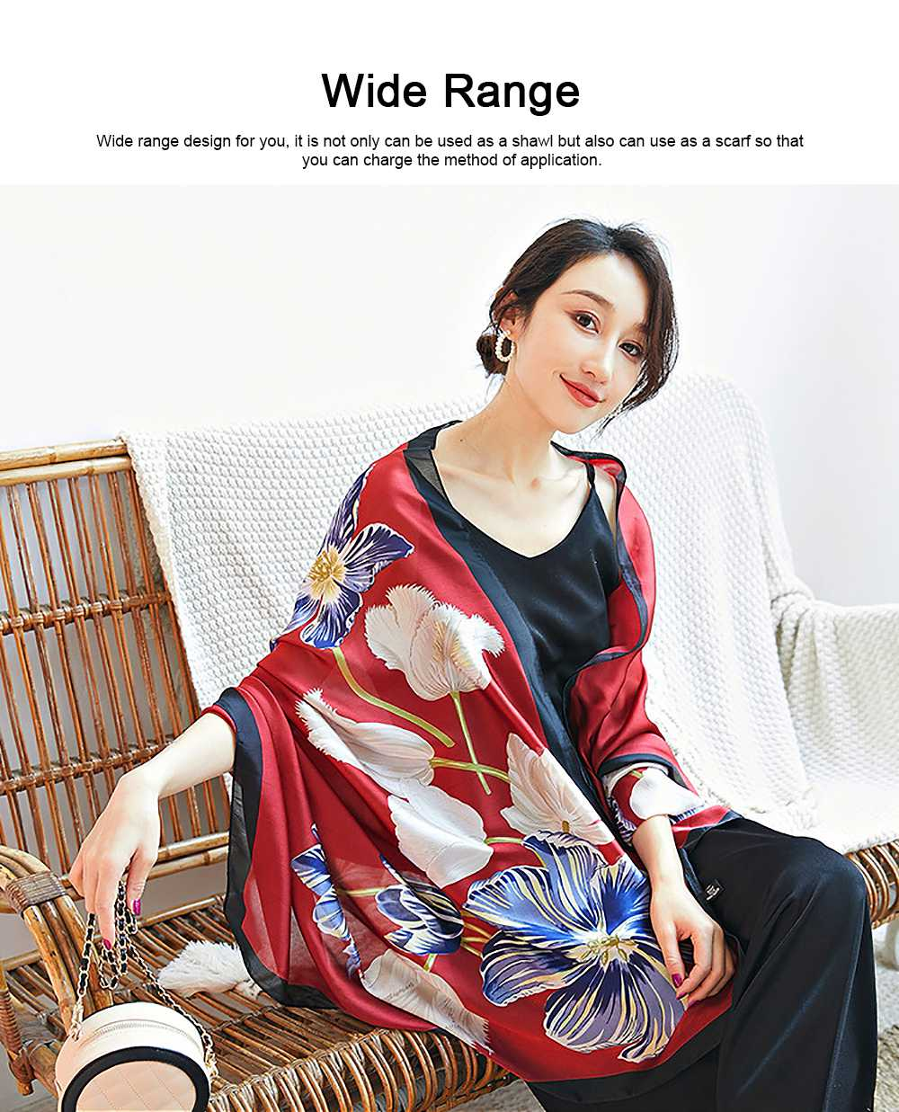Imitation Silk Scarf for Women Chinese Style Square Shape Suitable for Many Occasions Shawl, Wide Range Scarves 2