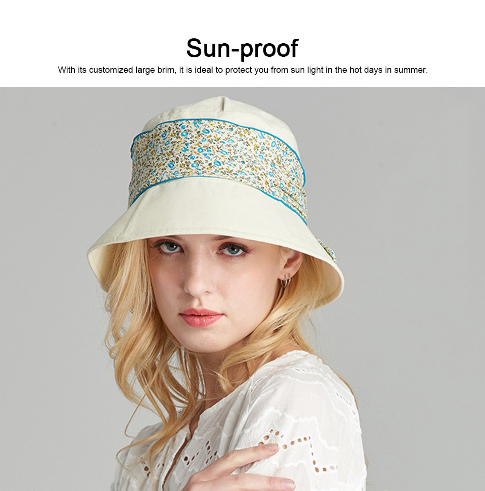 Spring Summer Bucket Hat Foldable Sunbonnet for Women Beach Sea Outdoor Activities Sun-proof Sun Hat 3