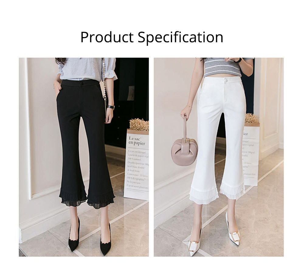 Women Flare Bottoms Mid Waisted Wide Leg Chiffon Palazzo Pants with Pocket Capris Leggings Bell-bottom Trousers 6