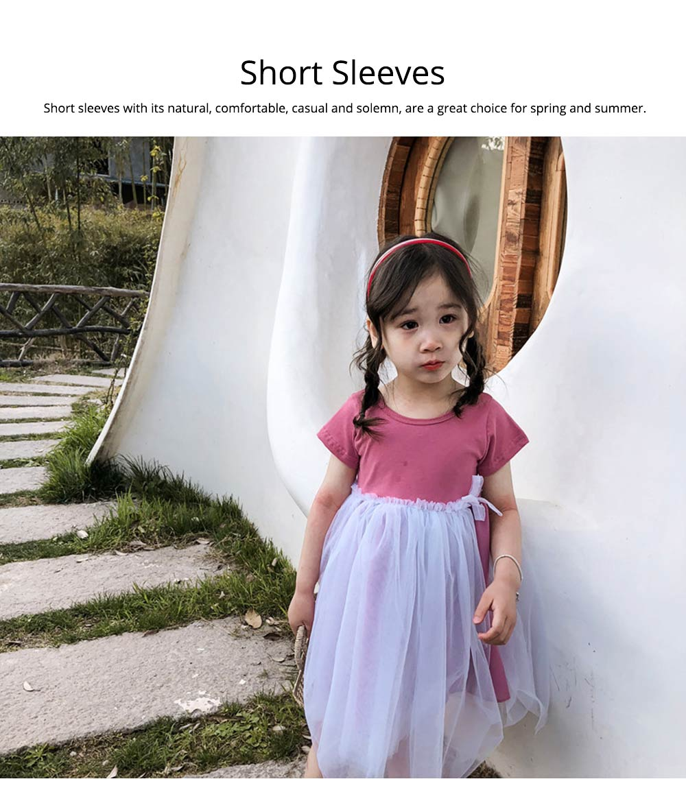 Hollow-back Dress for Girls, Tulle Skirt Patchwork Dress, Short Sleeves Dress for 3- 8 Years Girl 3