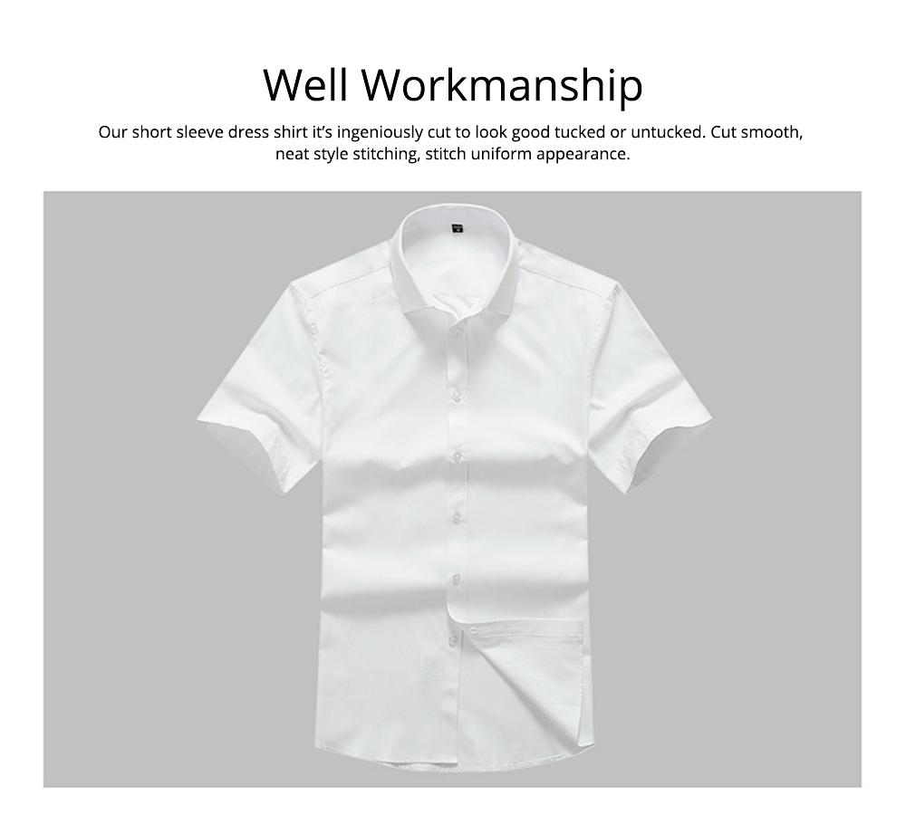 Men's Short Sleeve Shirts with Regular Fit Formal Business Cotton Solid Shirt Classic Slim Fit Flex Collar Dress Shirt 6
