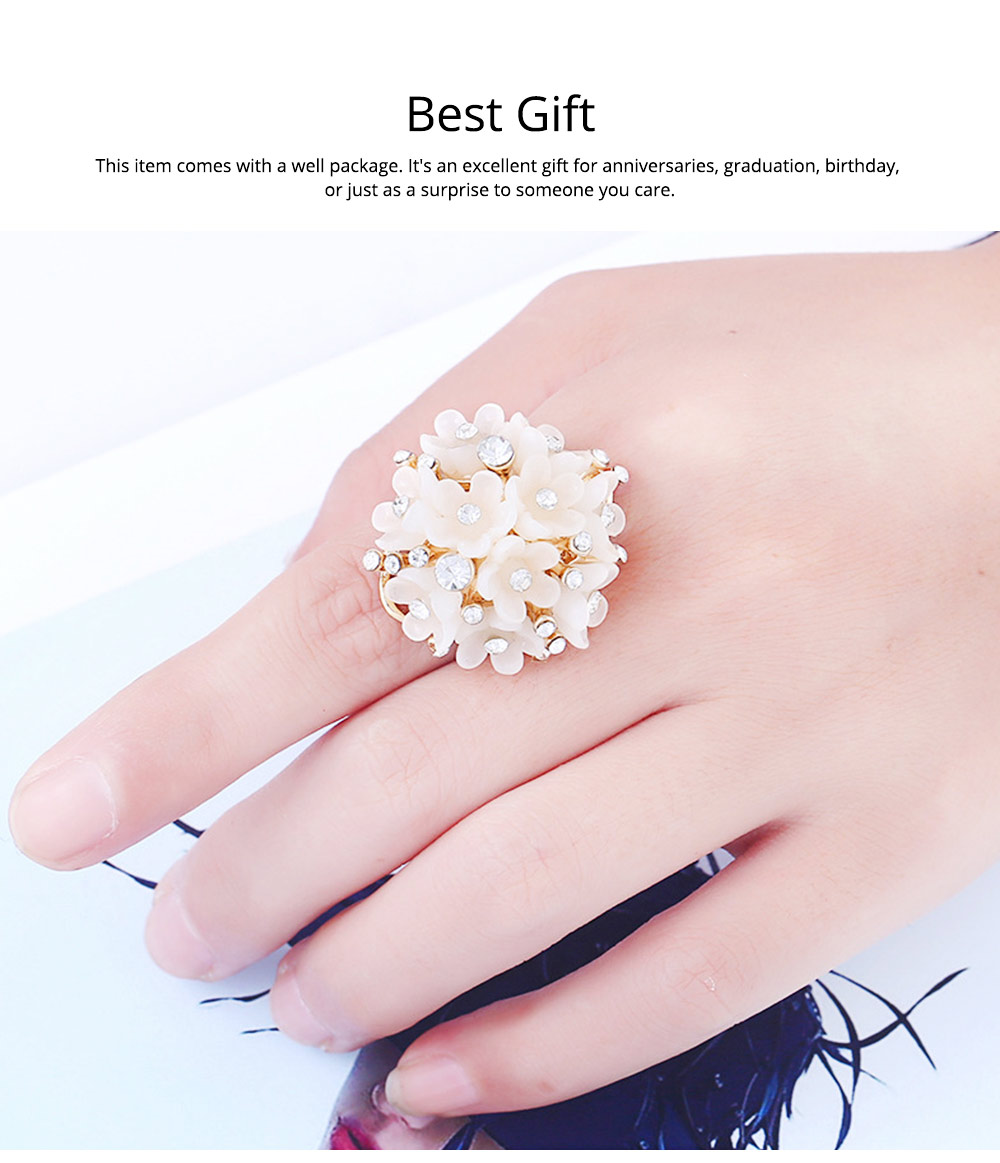 Women's Flower Index Finger Ring Adjustable Opening Aluminum Alloy Rhinestone Rings Women Fashion Jewelry Best Gifts for Girl Lady 5