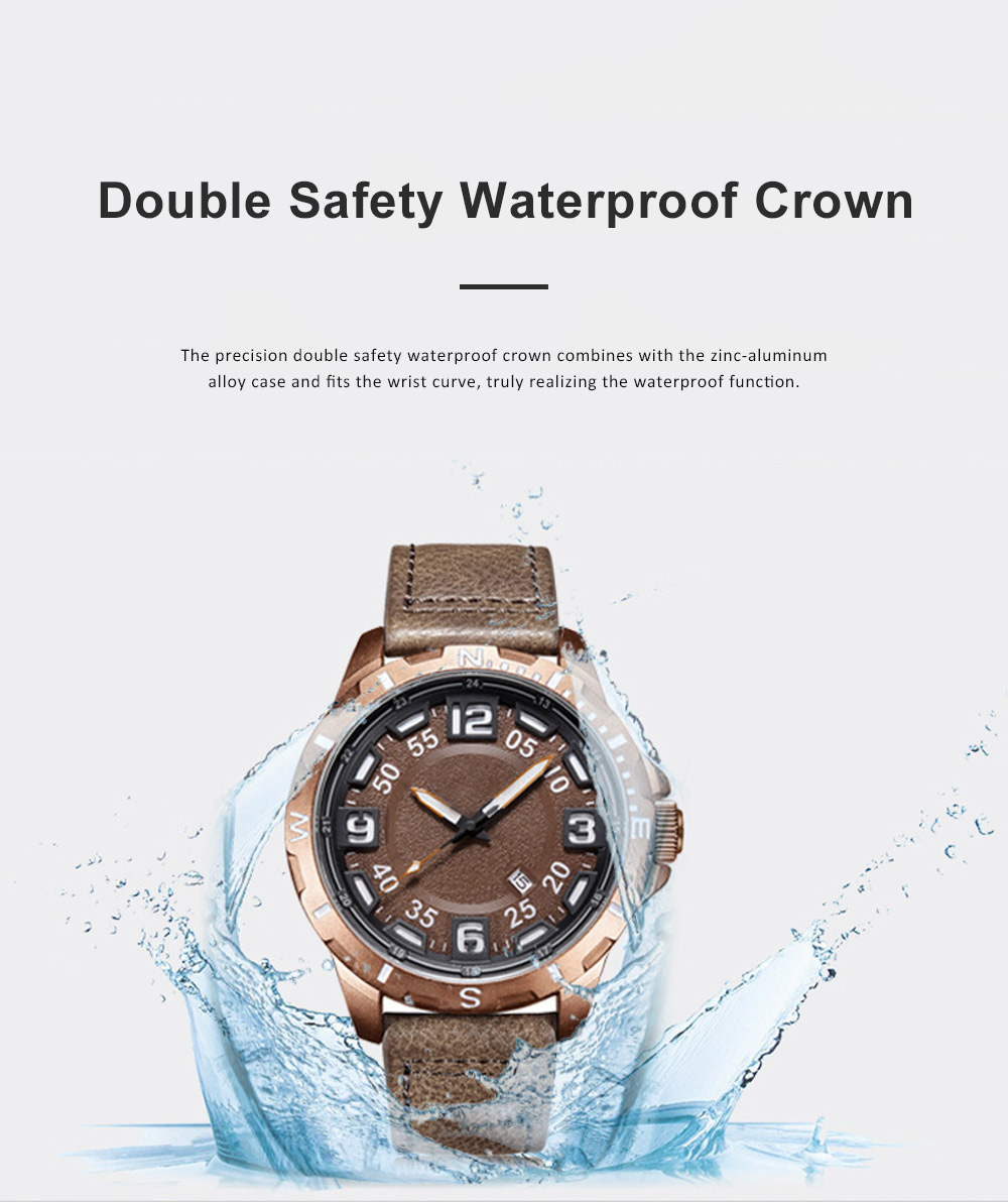 Casual Quartz Watch for Men Waterproof Quartz Watch With Stainless Steel Clasp Watch Leather Wrist Strap 1