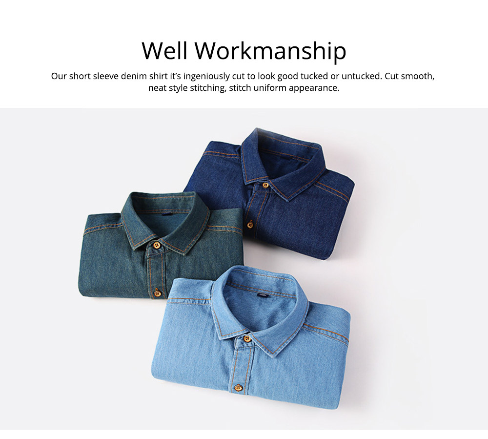 Men's Short Sleeve Shirts Casual Button Down Western Vintage Denim Shirt Cotton Loose Shirts 5