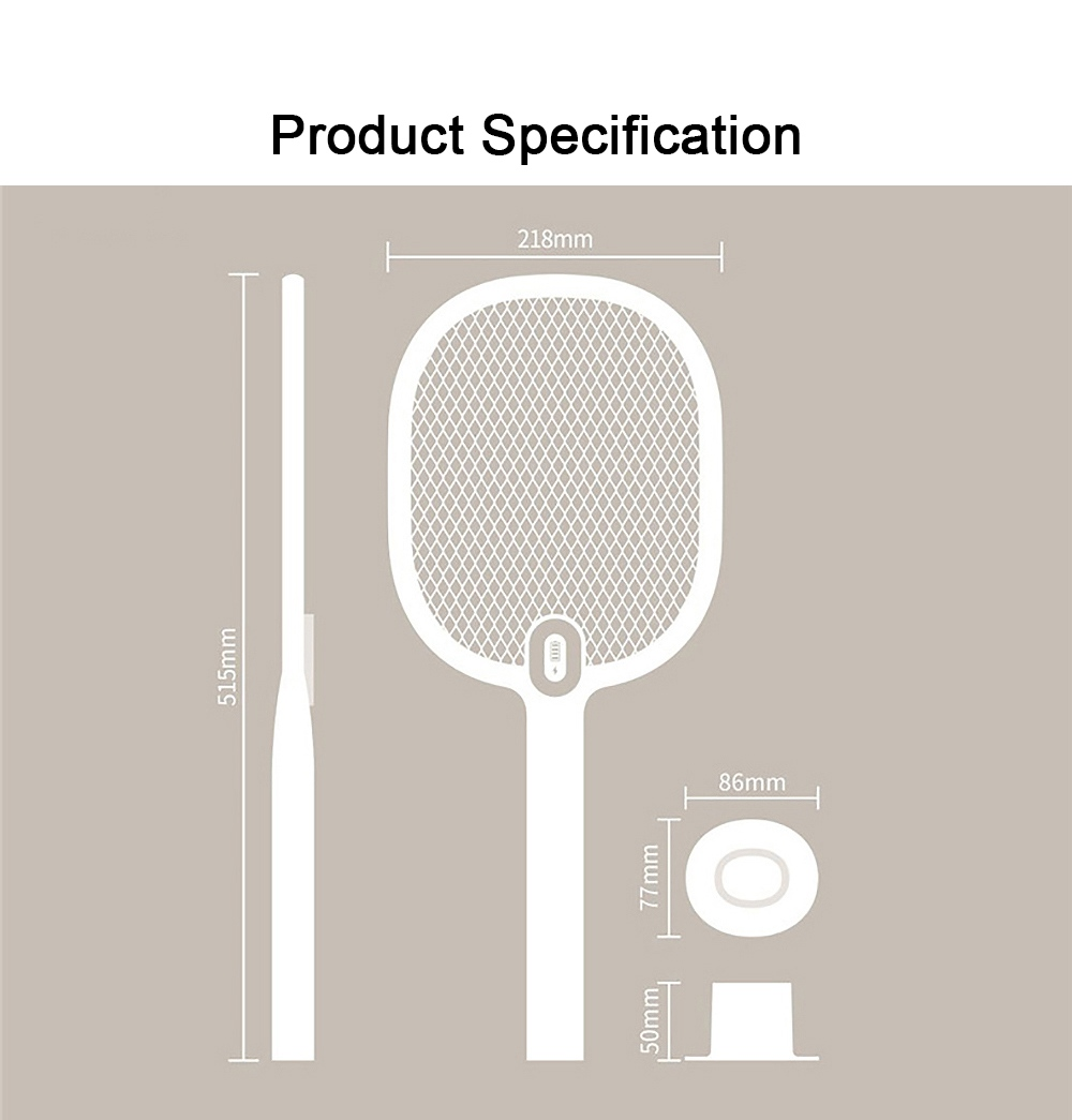 Electronic Mosquito Killer Swatter Metal Mesh Strong Light Mosquito Shoot Bat USB Charging Rechargeable Portable Durable Fly Insect Electric Swatter 7