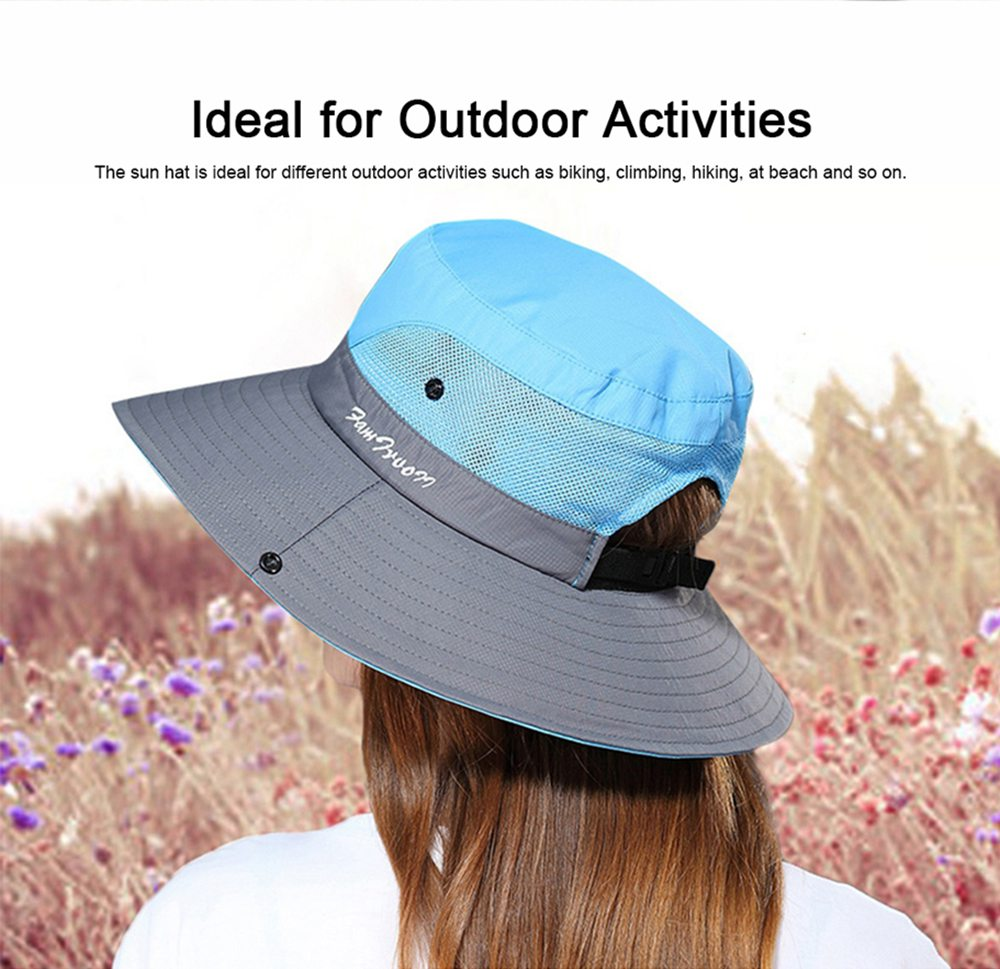 Foldable Bucket Hat for Women, Sunbonnet Sun Hat for Summer, Wind-proof Sun-proof for Outdoor Activities 2