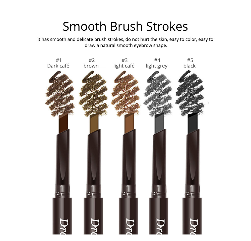 Double-Head Rotated Eyebrow Pencil, Waterproof Eyebrow Pencil, Eyebrow Pencil with a Brush NOVO 5 Colors Available 3