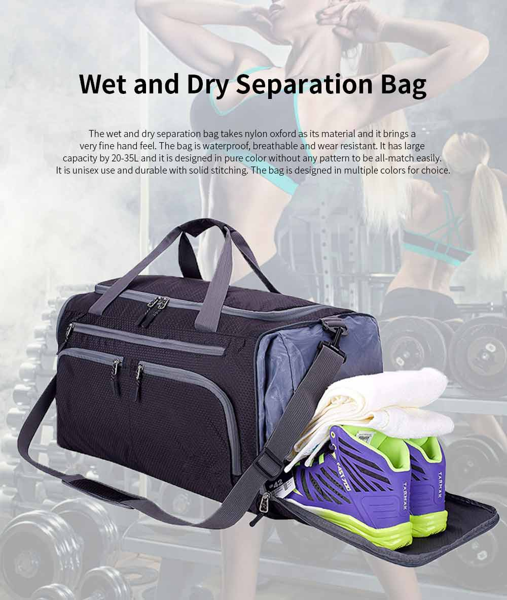 Nylon Oxford Wet and Dry Separation Bag with Two-way Zipper Major Pocket Durable Waterproof Separate Shoe Pocket Unisex Travelling Bag Large Capacity Valise Storage Bag 0