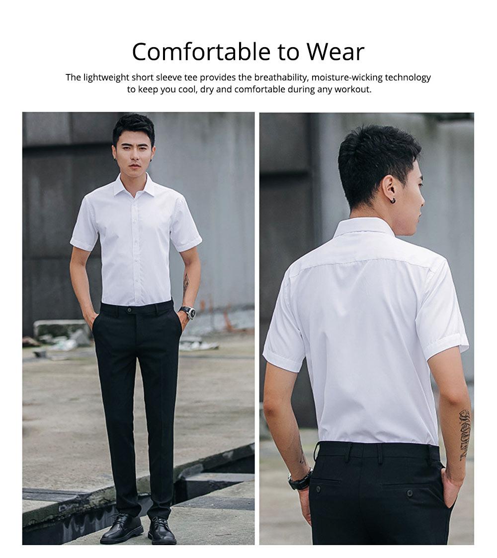 Men's Short Sleeve Shirts with Regular Fit Formal Business Cotton Solid Shirt Classic Slim Fit Flex Collar Dress Shirt 2