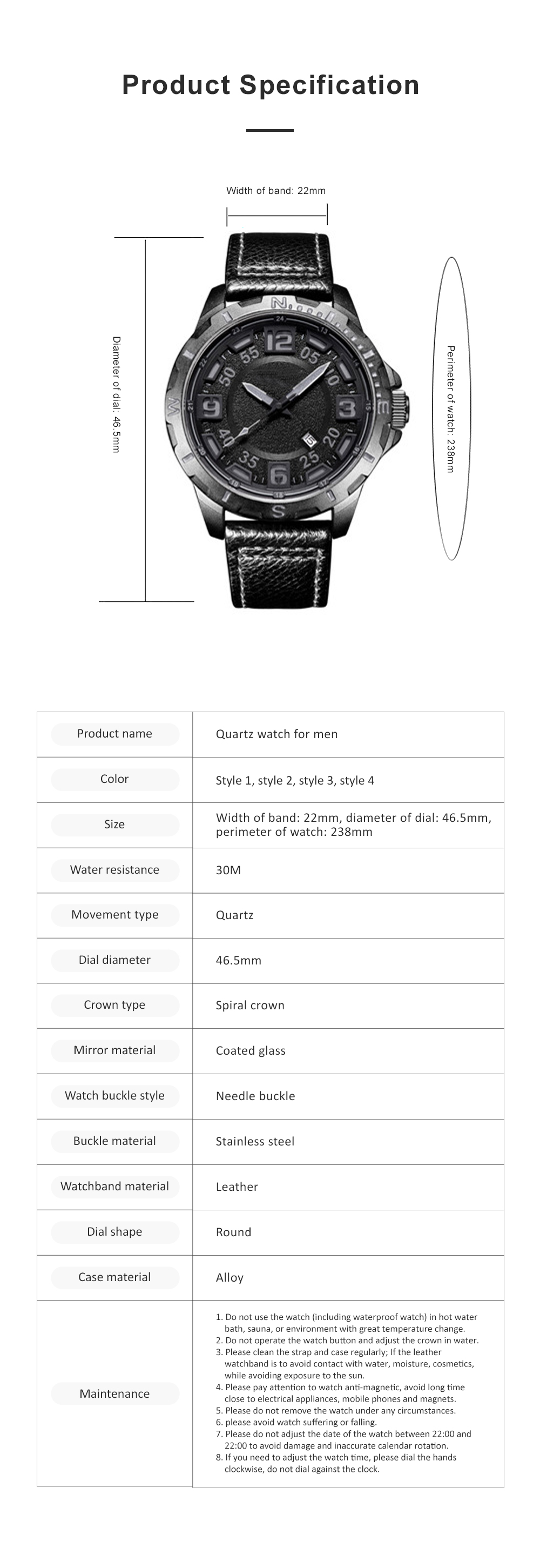 Casual Quartz Watch for Men Waterproof Quartz Watch With Stainless Steel Clasp Watch Leather Wrist Strap 7