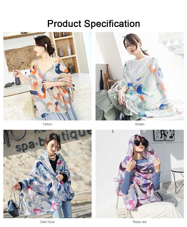 Korean Cotton Scarf for Women, Graffiti Pattern Larger Size Shawl, Multi-function Wide Range Printing Scarf 6