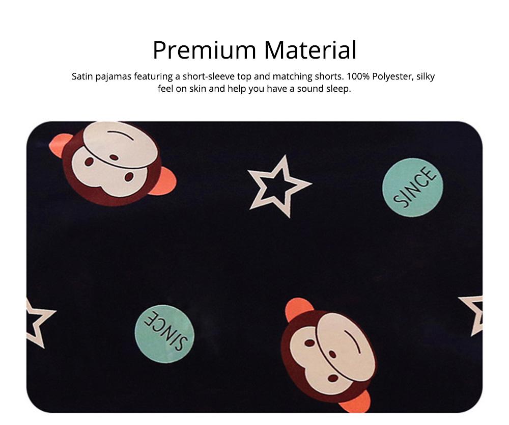 Casual Mother Daughter Pajamas Matching Comfortable Ice Silk Satin Pajama Set with Shirt and Short Pant 3