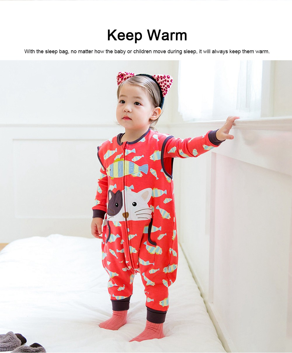 Baby Sleeping Bag with Feet, Pure Cotton Snooze Bag for Children & Kids 0-7 Years Oldl for Spring & Autumn 2
