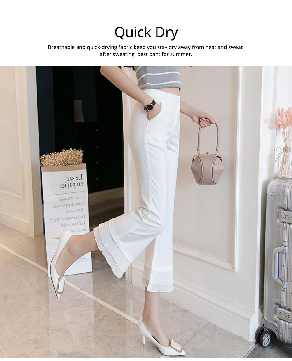 Women Flare Bottoms Mid Waisted Wide Leg Chiffon Palazzo Pants with Pocket Capris Leggings Bell-bottom Trousers 2